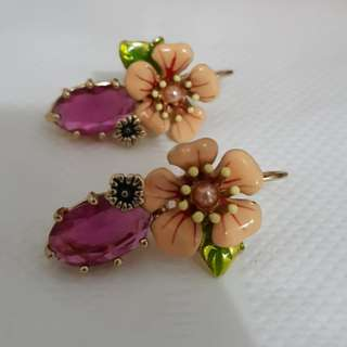 REPRICED Hibiscus Floral Dangling Earrings
