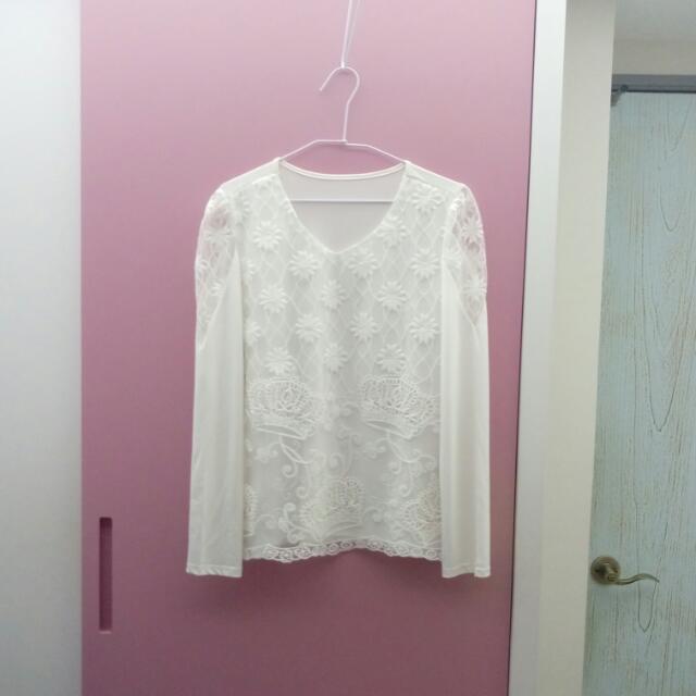 👑全新白色蕾絲上衣#交換最划算