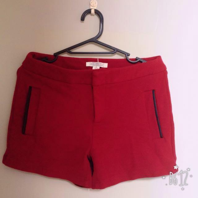 韓風酒紅厚棉短褲