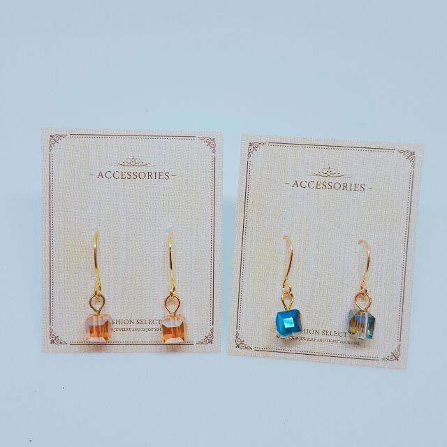 透明方塊耳環