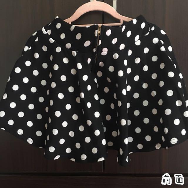 🎀 甜美 普普風 百搭黑白點點鬆緊褲裙