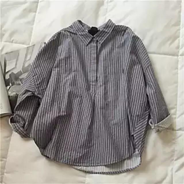 長袖 條紋 後綁 蝴蝶結 襯衫