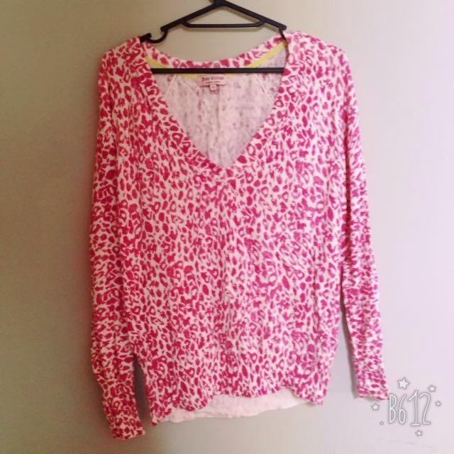 粉紅色 豹紋 V領 長袖針織
