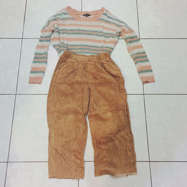 可分售 Net藕粉紅米白湖水綠條紋毛衣➕楓葉棕色燈芯絨寬褲