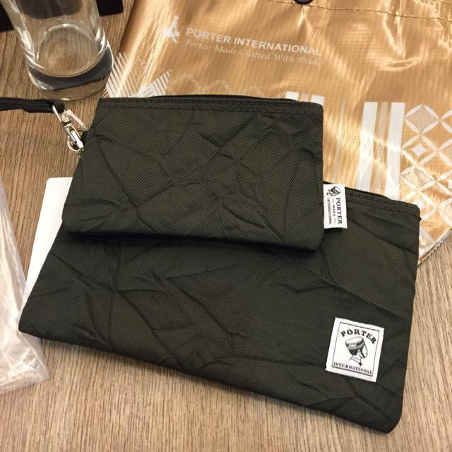 全新 Porter手機袋+零錢袋 原價1580 送小提袋。+porter對杯 原價800 全新 含運