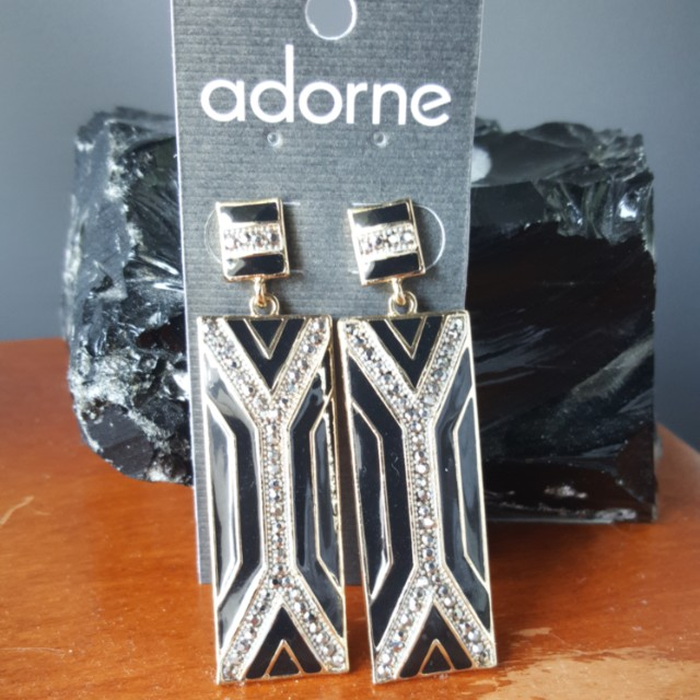 Adorne black and gold dress earrings