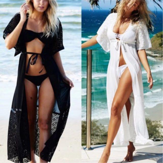 Beach Lace Robe crochet Bikini cover up  chiffon Long Maxi tie up