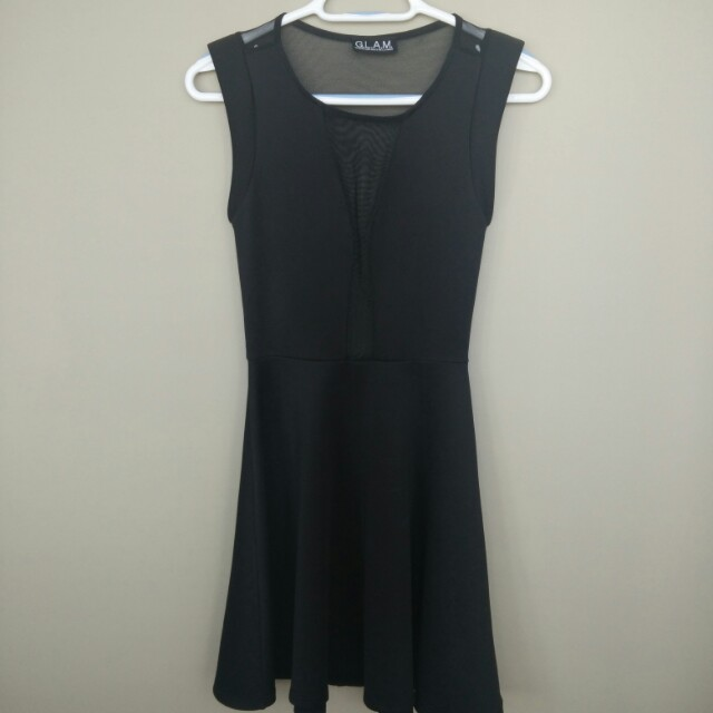 Black A-line dress with mesh detailing