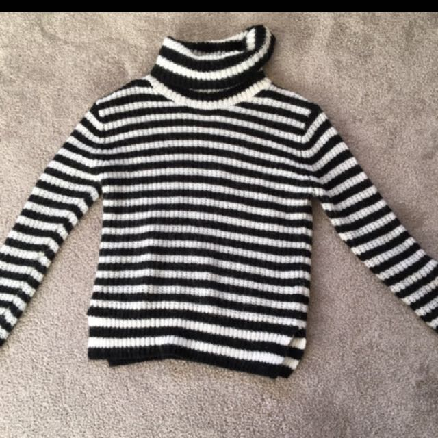 Black and white striped fleece