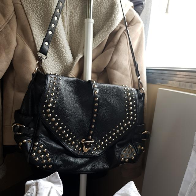 Black Pu Keather Studded Bag Strap
