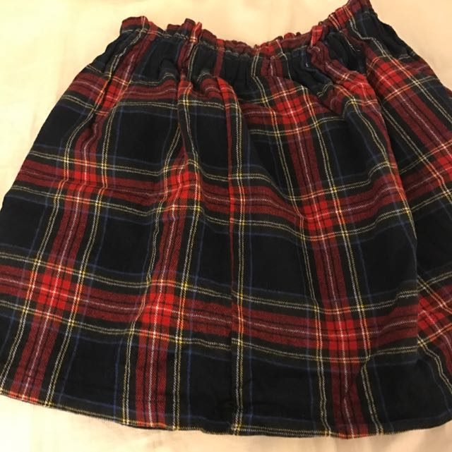 Blue and Red And Yellow Checkered Skirt