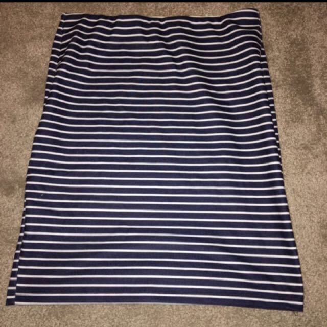 Blue and white striped mini/pencil skirt