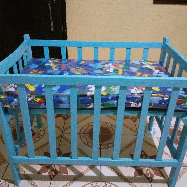Blue Baby Crib with MickeyMouse mattress