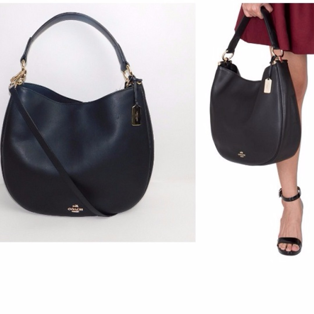45ca2cf13ce ... cheap bnwt authentic coach nomad hobo in glovetanned leather coach 36026  gold black luxury bags wallets ...