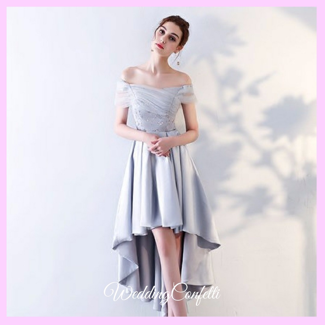 dc3fc8ef2312 Brand New  Alessandra Wedding Bridal Grey Off Shoulder High Low ...