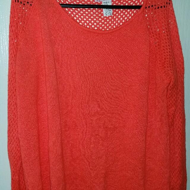 Coral Mesh Back Knit Jumper - Size M  (12/14)