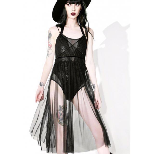 降↘️Dolls Kill美國龐克品牌FEMME FATALE SHEER DRESS 細肩帶網紗洋裝 搭配多層次 😎泳裝比基尼罩衫 亦可當性感睡衣 薄紗