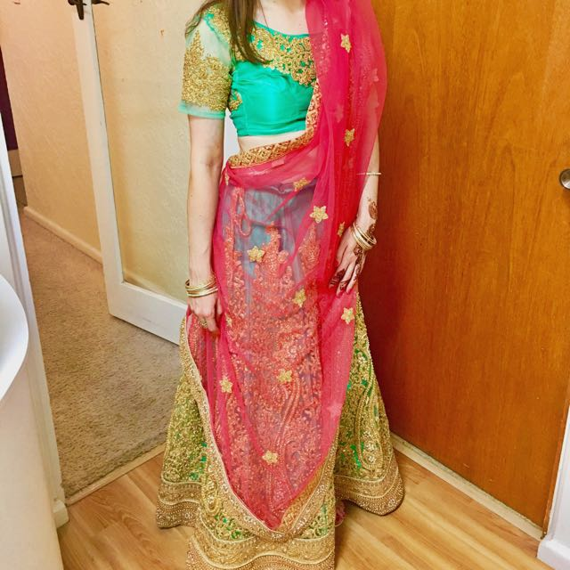 Embellished lengah lehenga lengha green pink gold with bangles and ring