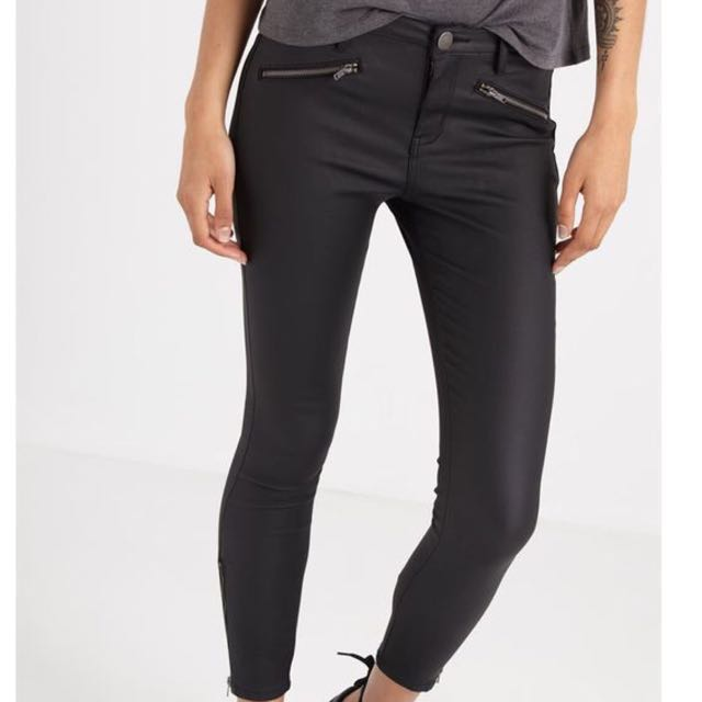Faux leather coated moto mid rise jeans