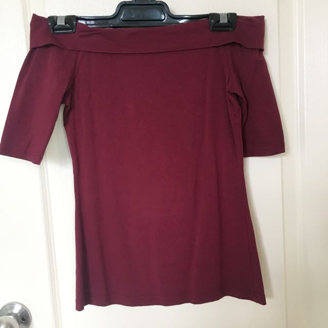 FORCAST Burgundy off shoulder top