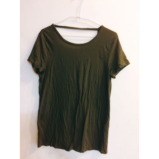 Forever21 莫代爾棉墨綠色露背短袖T恤
