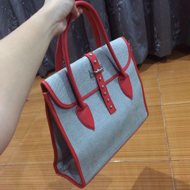 Grey And Red Bag
