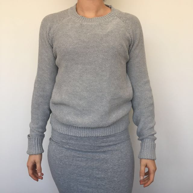 Grey Knit Cardigan - Size S