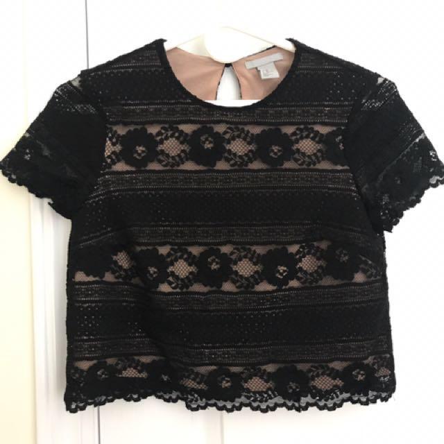 H&M Black Lace Crop Top