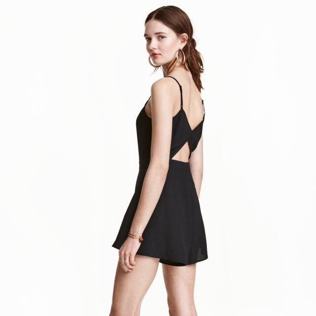 h&m black playsuit with triangle cutout