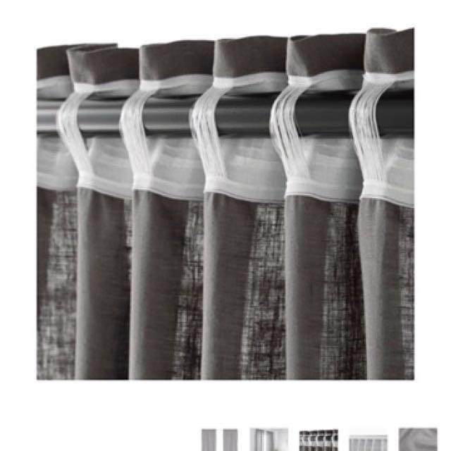 Ikea Aina Dark Grey Curtains Furniture Home Decor On