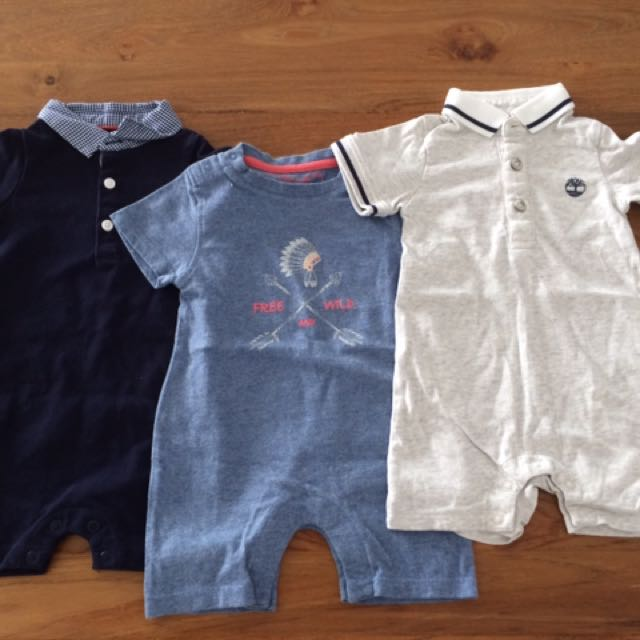 fdee15786 Jacadi/Timberland/Chateau de Sable Bodysuits- 6 months, Babies & Kids,  Babies Apparel on Carousell