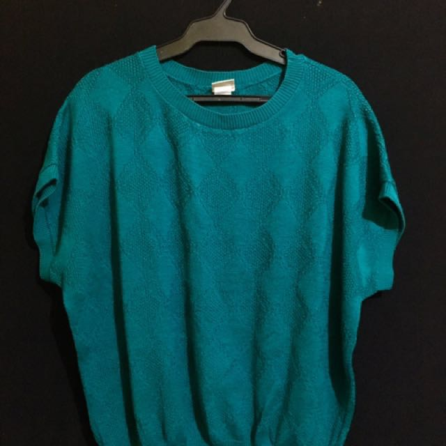 Knitted Blue Green Blouse