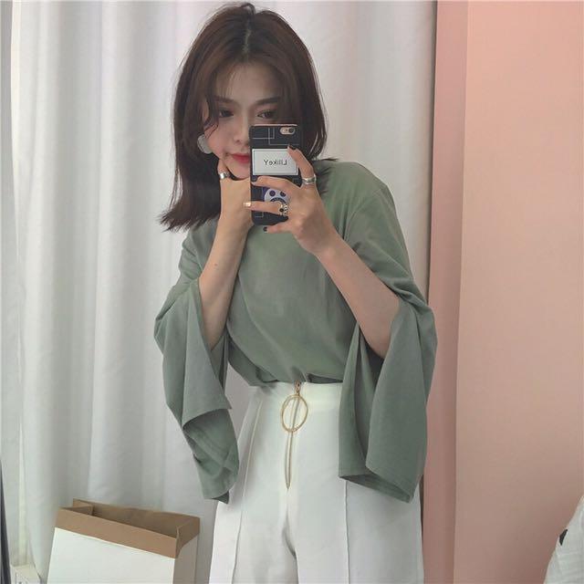 korean split bell sleeves tee