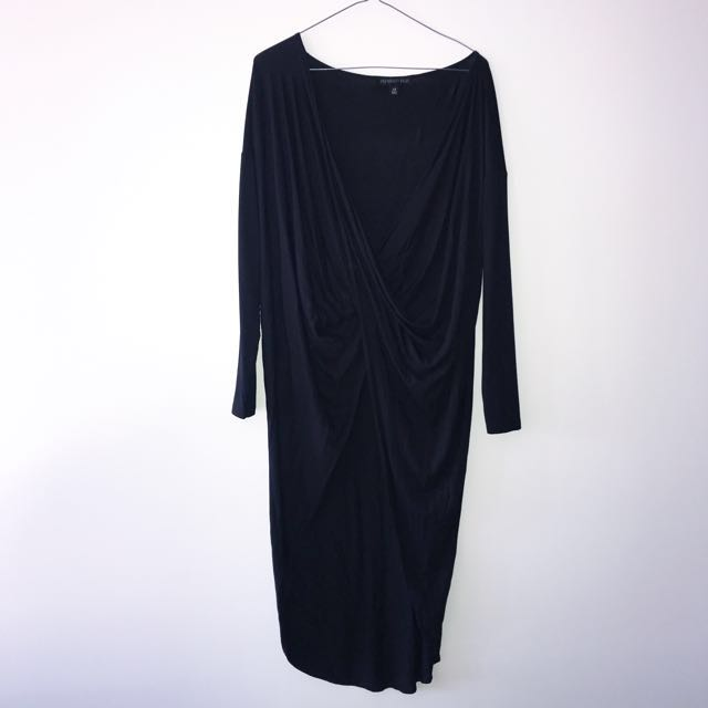 Long sleeve black top, cross over front- size 10