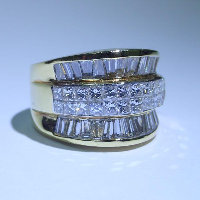 Majestic 3.52 Carat Cocktail Diamond Ring With Princess & Baguette Diamonds - Watch Video Inside - Luzure Jewelry