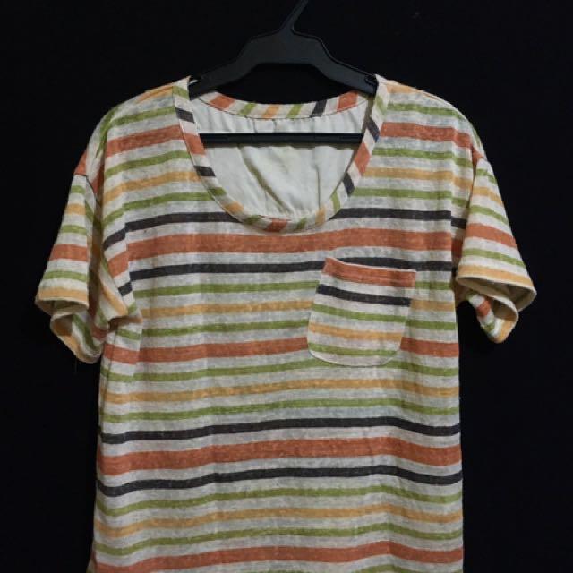 Multi Color Stripe Blouse w/ Pocket