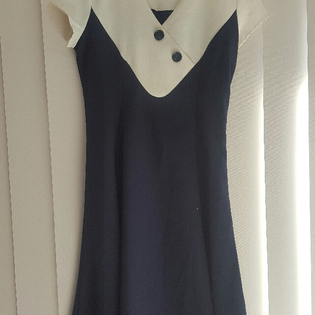 Navy and Cream Collectif Jenna Dress Size 12