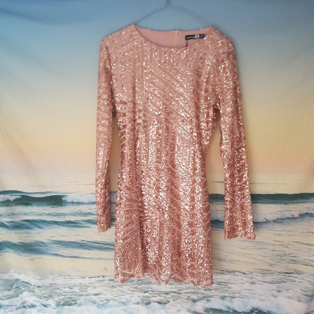 New Rose Gold Sequin Glitter Dress ~ Size 10
