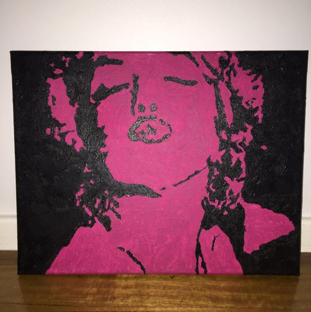 Original hand painted Marilyn Munroe Artwork, Acrylic On Canvas.