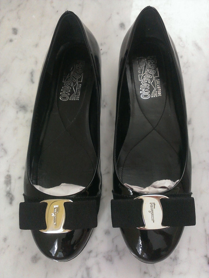 PRICE DROP - Authentic Size 7 /Salvatore Ferragamo / Varina Black Patent Leather Flat - SOLD OUT SHOE!