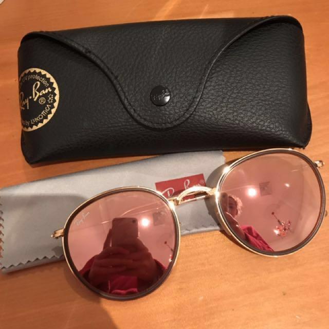 Ray ban Round Folding Rose Gold Pink Flash Sunglasses