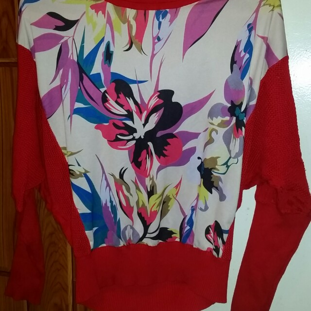 Red batwing top with prints (repriced to 50)