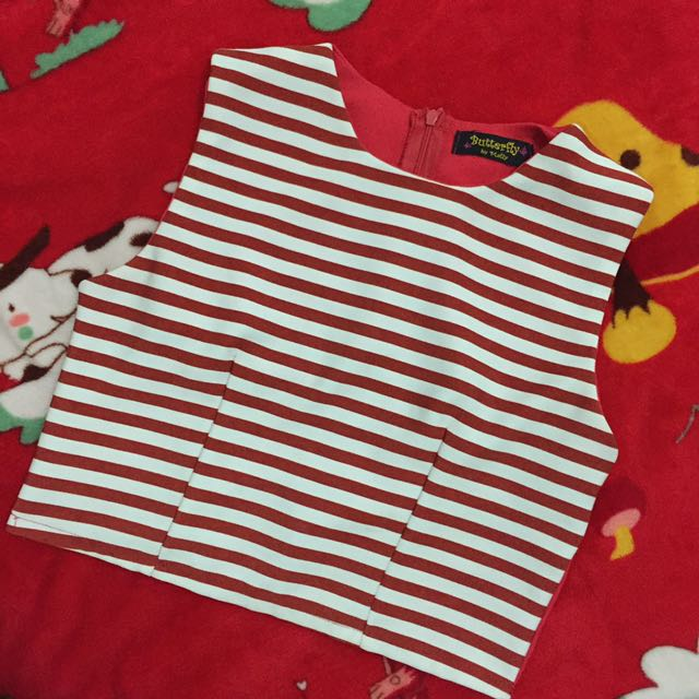 Red Stripes Crop Top