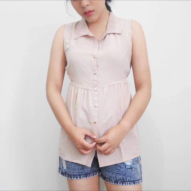 Sleeveless Shirt Blouse