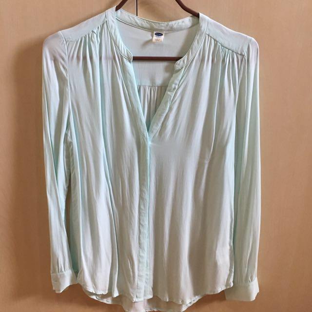 Turquoise V-neck Long Sleeves