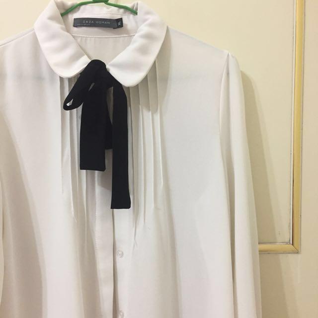 Zara款 雪紡白襯衫 領結可拆