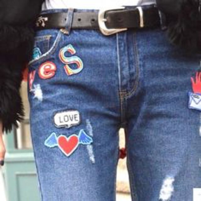 Zara Jeans With Patches Size 6