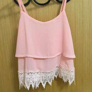 Sleeveless Pink Crochet top