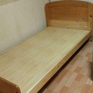 原木單人加大床架
