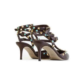 Valentino Rockstuds- brown with turquoise embellishment